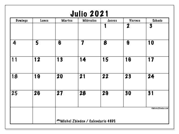 Calendario para imprimir, julio 2021, 48DS