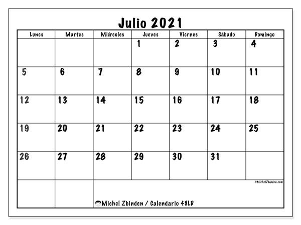 """Calendario """"48LD"""" julio de 2021 para imprimir   Michel Zbinden ES"""