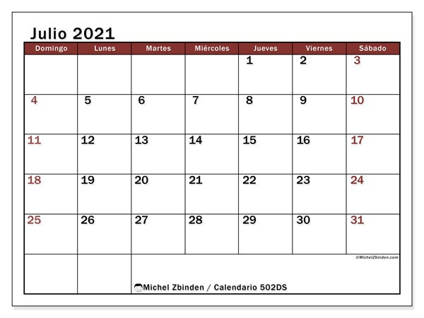 Calendario para imprimir, julio 2021, 502DS