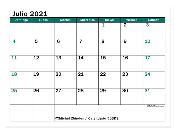 Calendario para imprimir, julio 2021, 503DS