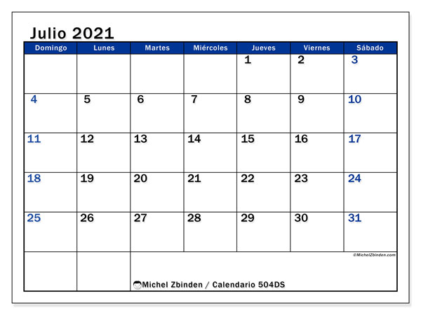 Calendario para imprimir, julio 2021, 504DS