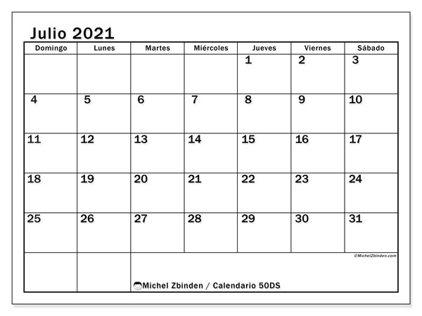 Calendario para imprimir, julio 2021, 50DS