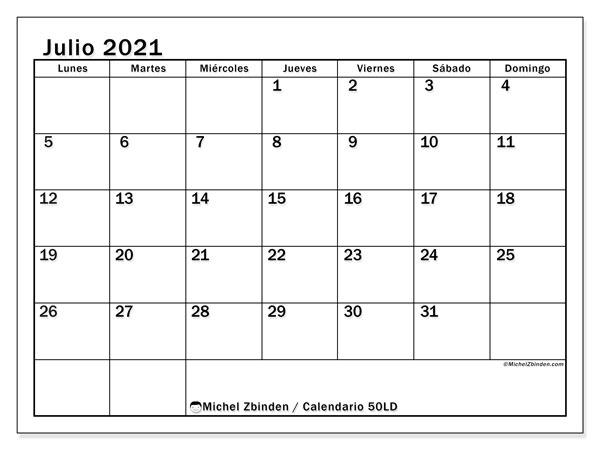 Calendario julio 2021, 50LD. Calendario para el mes para imprimir gratis.