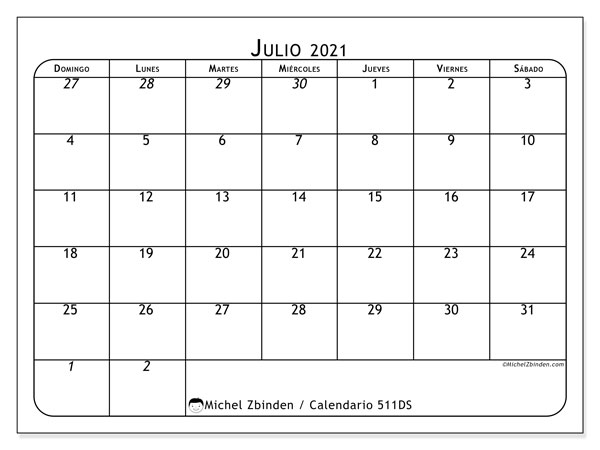 Calendario para imprimir, julio 2021, 511DS
