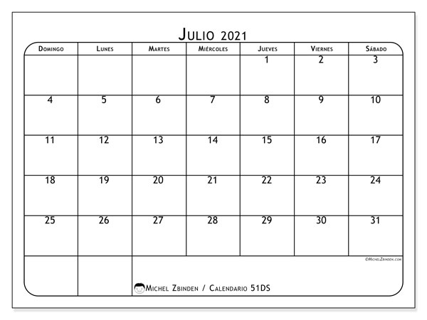 Calendario para imprimir, julio 2021, 51DS