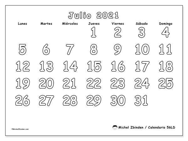 Calendario julio 2021, 56LD. Calendario gratuito para imprimir.