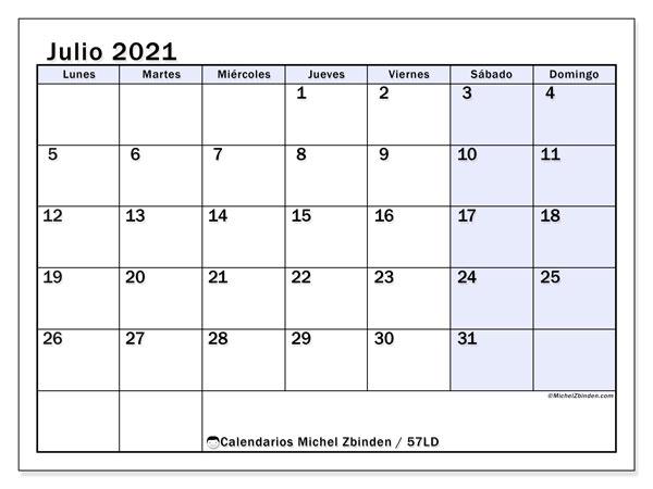 Calendario julio 2021, 57LD. Calendario para el mes para imprimir gratis.
