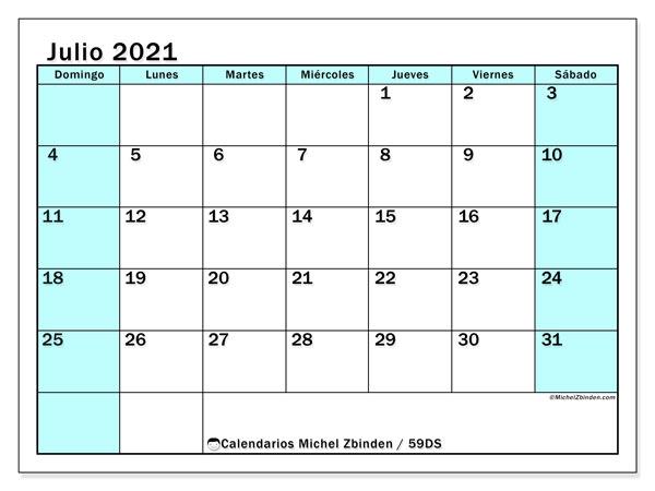 Calendario julio 2021, 59DS. Calendario mensual para imprimir gratis.