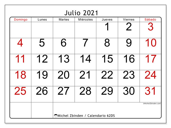 Calendario para imprimir, julio 2021, 62DS