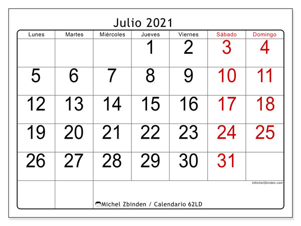 Calendario julio 2021, 62LD. Calendario gratuito para imprimir.