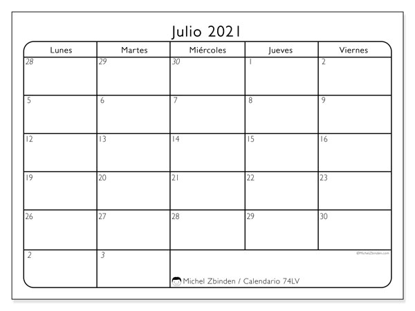 Calendario para imprimir, julio 2021, 74DS