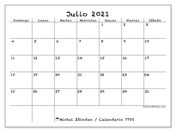 Calendario para imprimir, julio 2021, 77DS
