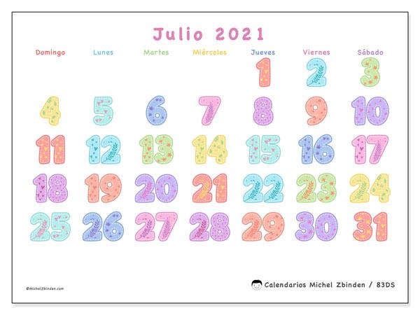 Calendario julio 2021, 83DS. Almanaque para imprimir gratis.