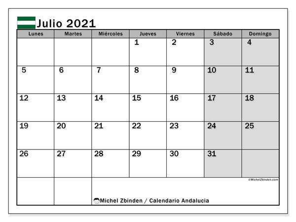 Calendario julio 2021, con días feriados en Andalucía. Calendario vacaciones y festivos para imprimir gratis.