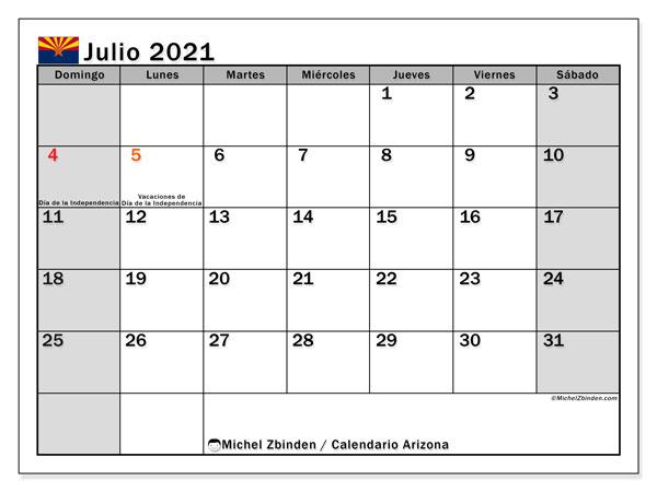 Calendario julio 2021, con días feriados en Arizona. Calendario vacaciones y festivos para imprimir gratis.