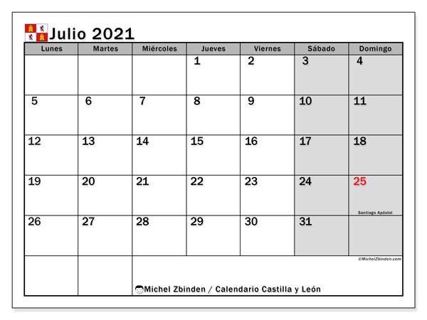 Calendario julio 2021, con días feriados de Castilla y León. Calendario vacaciones y festivos para imprimir gratis.