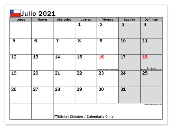 """Calendarios julio 2021 """"Días feriados""""   Michel Zbinden ES"""