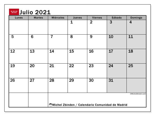 Calendario julio 2021, con días feriados de la Comunidad de Madrid. Calendario para imprimir gratis con días festivos.