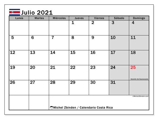 Calendario julio 2021, con días feriados de Costa Rica. Calendario para imprimir gratis con días festivos.