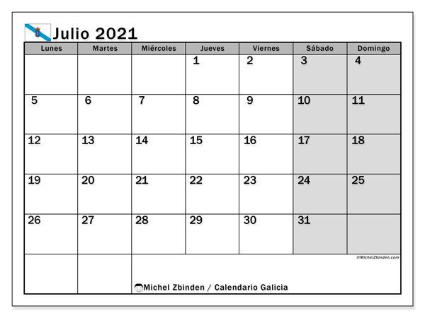 Calendario julio 2021, con días feriados en Galicia. Calendario vacaciones y festivos para imprimir gratis.
