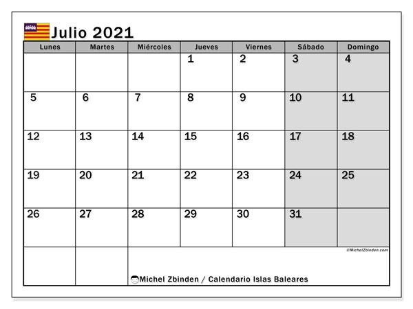 Calendario julio 2021, con días feriados en las Islas Baleares. Calendario vacaciones y festivos para imprimir gratis.