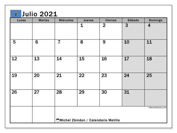 Calendario julio 2021, con días feriados en Melilla. Calendario vacaciones y festivos para imprimir gratis.