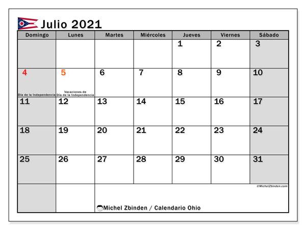 Calendario julio 2021, con días feriados de Ohio. Calendario para imprimir gratis con días festivos.