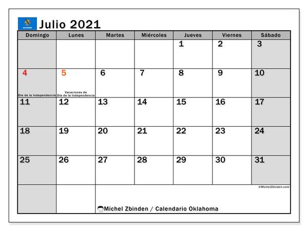 Calendario julio 2021, con días feriados de Oklahoma. Calendario vacaciones y festivos para imprimir gratis.