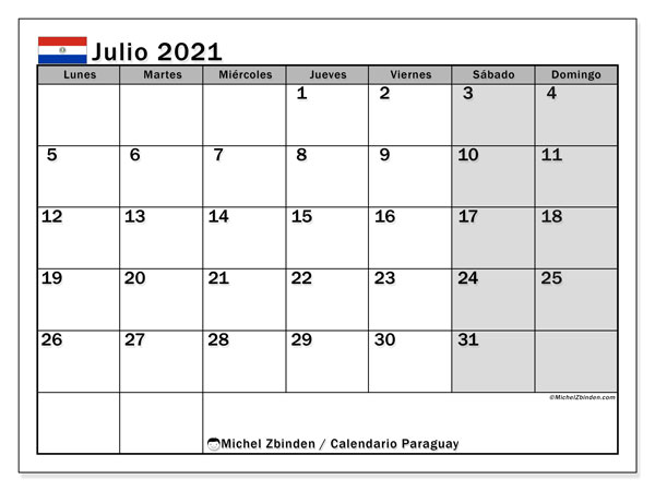 Calendario julio 2021, con días feriados en Paraguay. Calendario para imprimir gratis con días festivos.