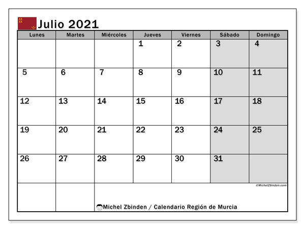 Calendario julio 2021, con días feriados en la Región de Murcia. Calendario vacaciones y festivos para imprimir gratis.
