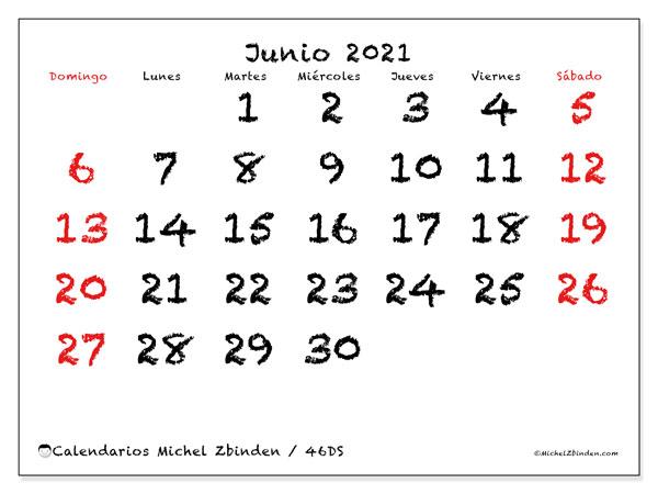 Calendario junio 2021, 46DS. Calendario gratuito para imprimir.