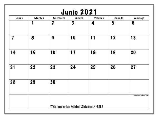 """Calendario """"48LD"""" junio de 2021 para imprimir   Michel Zbinden ES"""