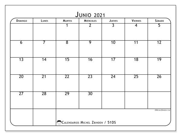Calendario junio 2021, 51DS. Calendario gratuito para imprimir.