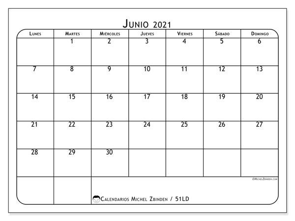 Calendario junio 2021, 51LD. Almanaque para imprimir gratis.