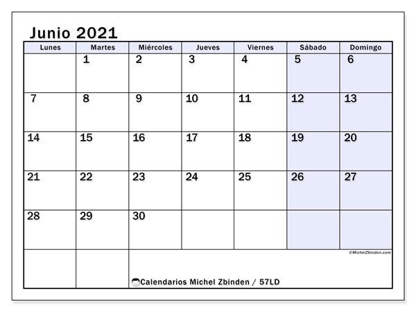 Calendario junio 2021, 57LD. Calendario para imprimir gratis.