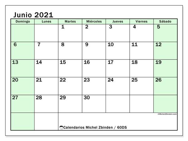 Calendario junio 2021, 60DS. Calendario gratuito para imprimir.