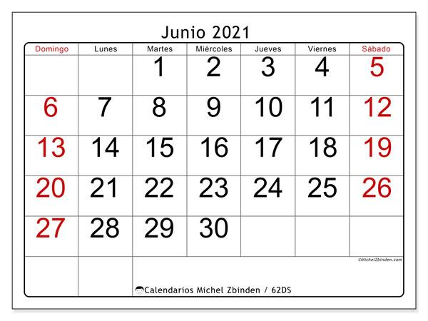 Calendario junio 2021, 62DS. Almanaque para imprimir gratis.