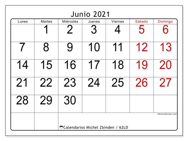 Calendario junio 2021, 62LD. Calendario gratuito para imprimir.