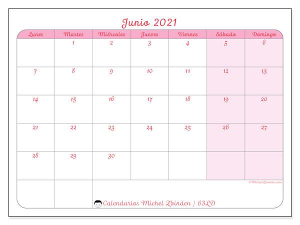 Calendario junio 2021, 63LD. Calendario mensual para imprimir gratis.
