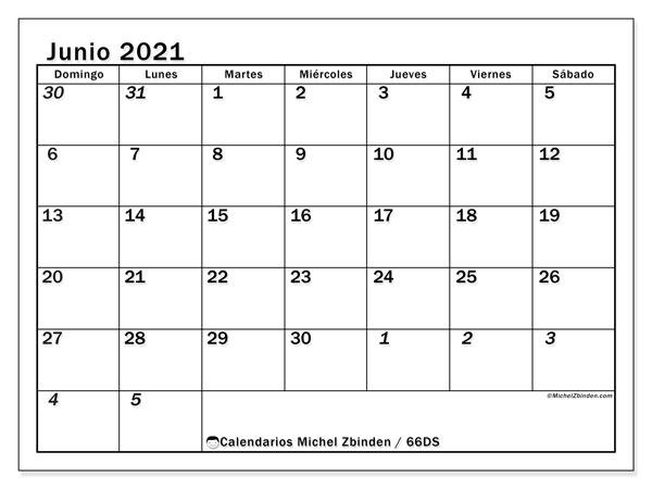 Calendario junio 2021, 66DS. Planificación para imprimir gratis.