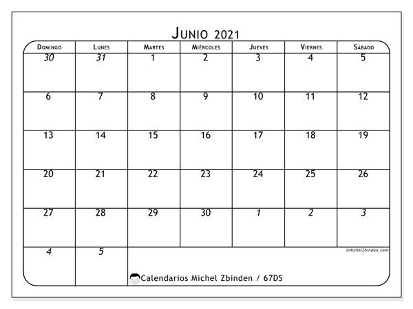 Calendario junio 2021, 67DS. Planificación para imprimir gratis.