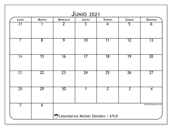Calendario junio 2021, 67LD. Calendario imprimible gratis.
