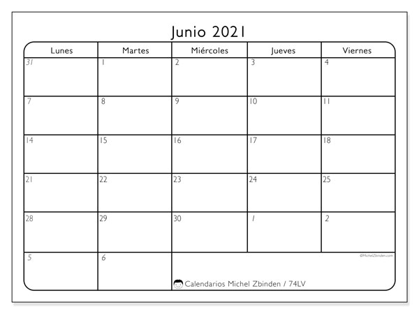 Calendario junio 2021, 74DS. Calendario mensual para imprimir gratis.