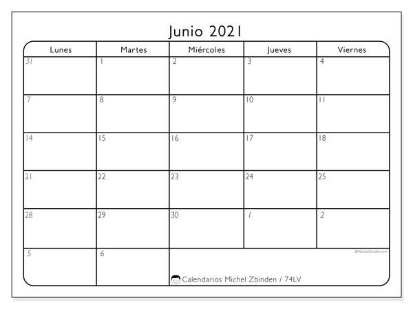 Calendario junio 2021, 74LD. Calendario mensual para imprimir gratis.