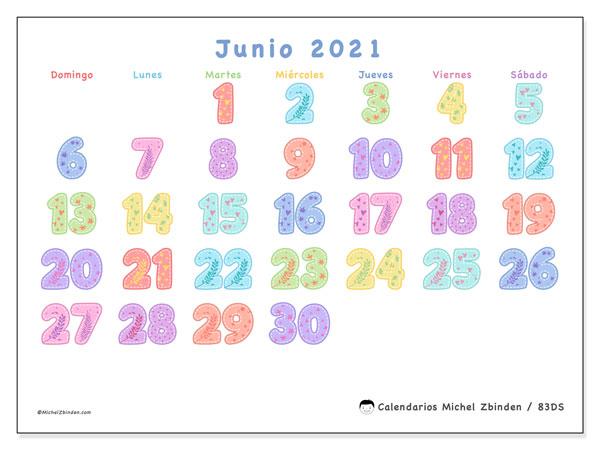 Calendario junio 2021, 83DS. Calendario para imprimir gratis.