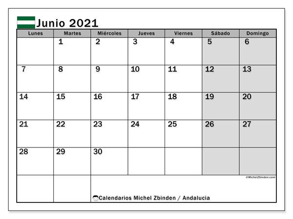 Calendario junio 2021, con días feriados en Andalucía. Calendario para imprimir gratis con días festivos.