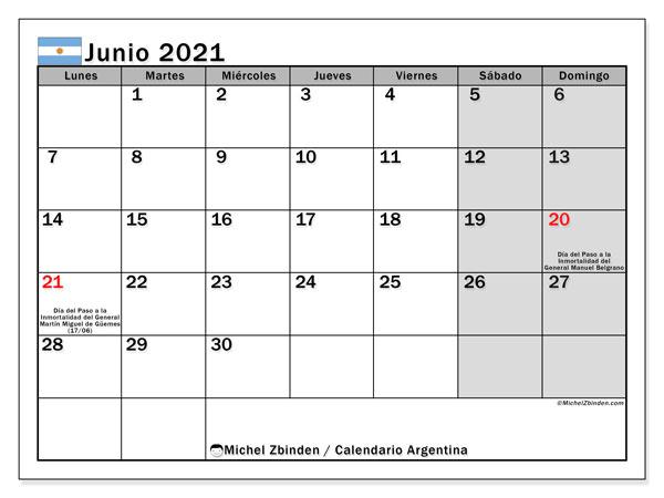 Calendario junio 2021, con días feriados en Argentina. Calendario para imprimir gratis con días festivos.