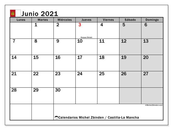 Calendario junio 2021, con días feriados en Castilla-La Mancha. Calendario para imprimir gratis con días festivos.