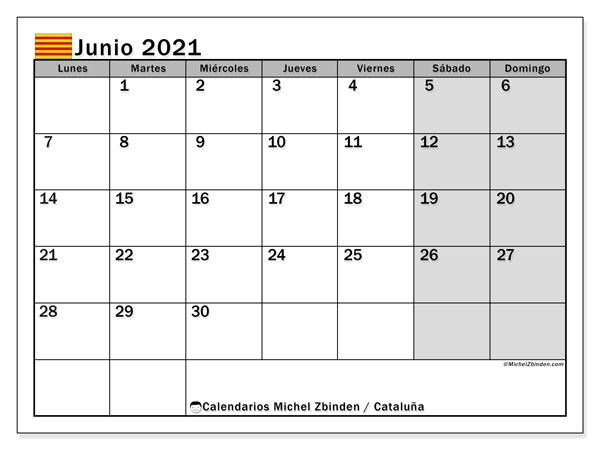 Calendario junio 2021, con días feriados en Cataluña. Calendario vacaciones y festivos para imprimir gratis.