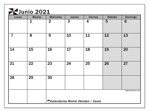 Calendario junio 2021, con días feriados en Ceuta. Calendario para imprimir gratis con días festivos.